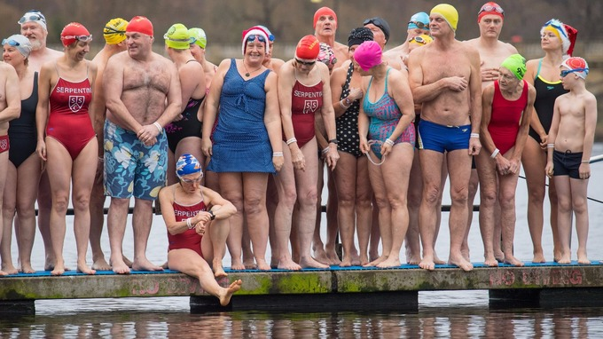 Image result for The Serpentine Swimming Club's Peter Pan Cup christmas