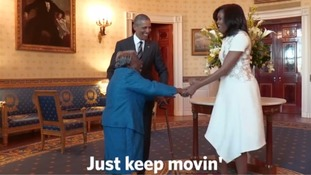 The Obamas meet 106-year-old Virginia McLaurin.