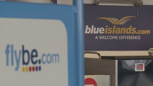 Flybe and Blue Islands branding in Guernsey airport