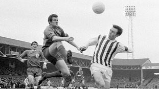 Jeff Astle, right, heads the ball during a game in 1968.