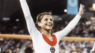 Olga Korbut at the 1972 Munich Olympics.