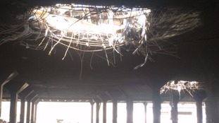 The damage to a funeral hall building in Sanaa, Yemen.