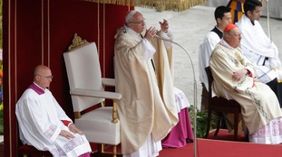 The Pope gives Easter Mass.