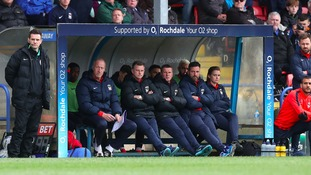 Coventry city staff in the dugout