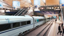 Artists impression shows the HS2 trains.