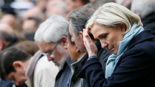 Far-right candidate Marine Le Pen also paid respects to Xavier Jugele.