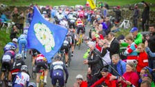 Thousands came out to watch the Tour de Yorkshire's second stage.