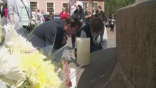 People paid tribute to the victims of the Manchester attack on Tuesday