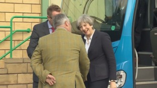Theresa May arrives in Kelso.