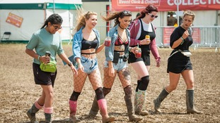 Festival-goers didn't let the mud put them off at the Isle of Wight festival.