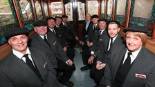 Cliff tramway staff in one of the Victorian carriages