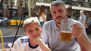 Ryan Davey (right) with his son George moments before the Barcelona terror attack.