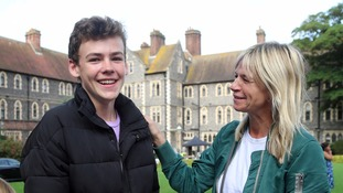 Woody Cook, with TV presenter mum Zoe Ball, celebrates getting his results.