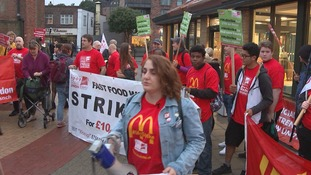 Workers on strike outside the Crayford branch of McDonald's