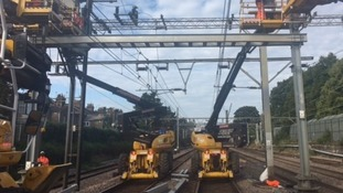 6 miles of overhead power lines are being replaced over Christmas closing the main rail line into London at Ilford.