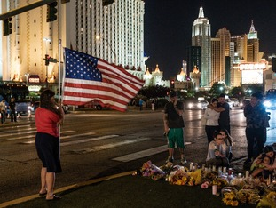 Tributes are left near the scene of the shooting in Las Vegas