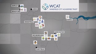 Map showing the location of WCAT schools