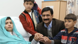 Ziauddin Yousufzai pictured with Malala and his two sons Khushal Khan and Atal Khan