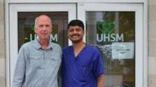 Anthony Anderson and Rajamiyer Venkateswaran, Director of Transplantation and Consultant Cardiac Surgeon at Wythenshawe Hospital.