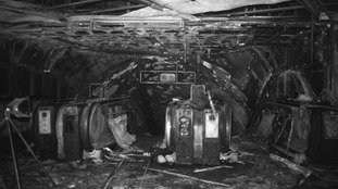 Fire-damaged escalators at King's Cross underground station in 1987