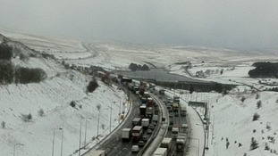 Slow moving traffic on M62 at Outlane