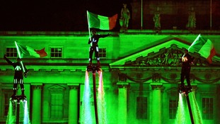 Members of Flyboard Ireland take part in Dublin's New Year's eve celebrations.
