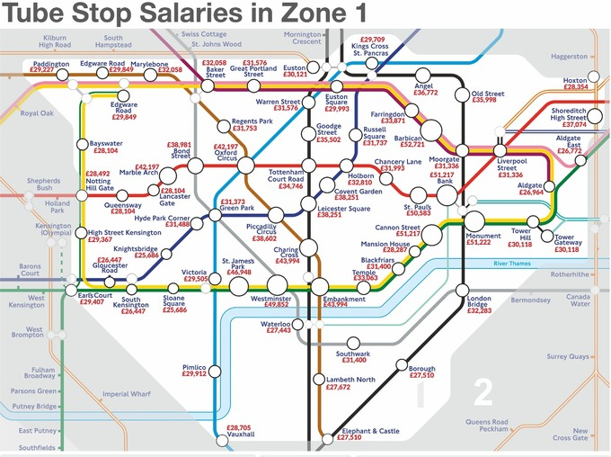 Which zone 1 Tube stations are near the highest paid jobs? | London ...
