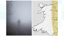 Cyclist in fog and map of area affected