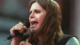 Ozzy Osbourne performing with Birmingham band Black Sabbath