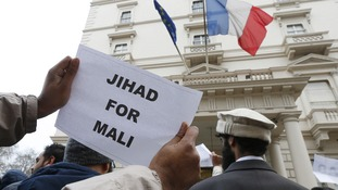 "Islamists protest outside the French Embassy in London with the sign ""Jihad for Mali"""