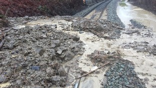 Landslide on railway line