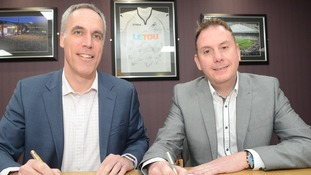 Swansea City's Chief Operating Officer Chris Pearlman with Cllr Rob Stewart.