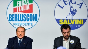 Silvio Berlusconi (L), President of Forza Italia and former Italian Prime Minister, and Matteo Salvini, leader of Lega Nord party.
