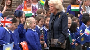 The Duchess of Cornwall was met with flags from across the Commonwealth.