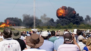 A fireball from the crash was seen by spectators at the show.