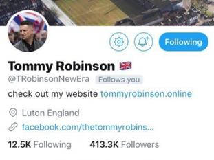 Tommy Robinson had over 400,000 followers before his account was suspended.