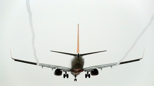 Flight comes into land at Gatwick