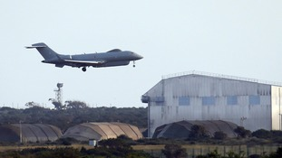A UK aircraft takes off from a royal air forces base in Cyprus as Theresa May decides on whether the UK will launch military strikes in Russian-backed areas of Syria.