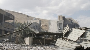 A Scientific Research Centre destroyed by the bombing.