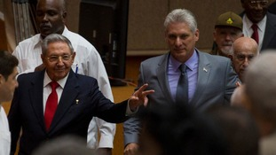 Miguel Mario Diaz-Canel Bermudez (right) appears set to takeover from Mr Castro