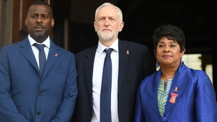 Baroness Lawrence and her son Stuart with Labour leader Jeremy Corbyn before the memorial.