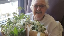 Pauline Clayton, 89, was thrilled to receive the flowers at her hospice.