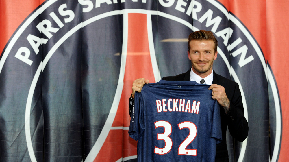 new style 21d82 eeffa David Beckham to wear number 32 for PSG - ITV News