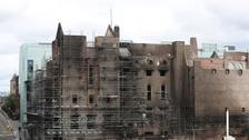 The fire-damaged Glasgow School of Art (GSA) in the historic Mackintosh Building.