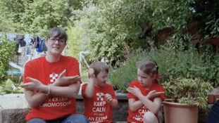 Children with Down's Syndrome sing Three Lions on a Shirt