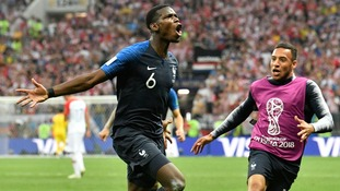Paul Pogba celebrates the third goal.