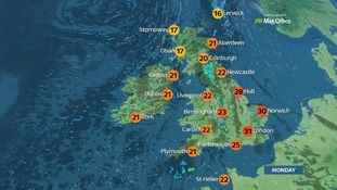 The eastern regions will enjoy the highest temperatures on Monday.