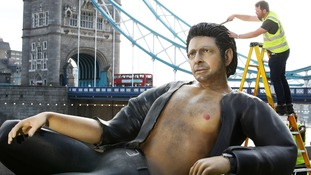 Applying the finishing touches to Goldblum's hair...
