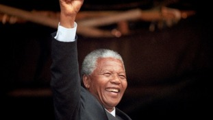 Nelson Mandela spoke at a rally in Glasgow in 1993.