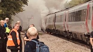 A CrossCountry train which caught fire between Derby and Chesterfield.